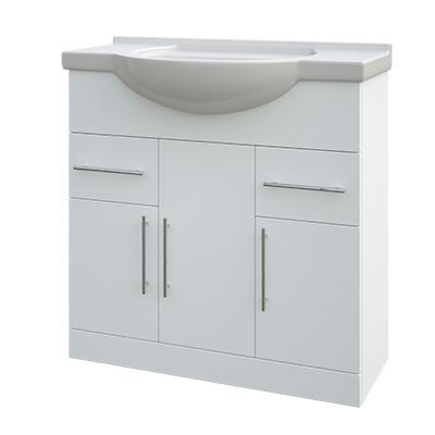 Helena White Vanity Unit 3 Door 2 Drawer with Basin 750mm wide & Clicker Waste
