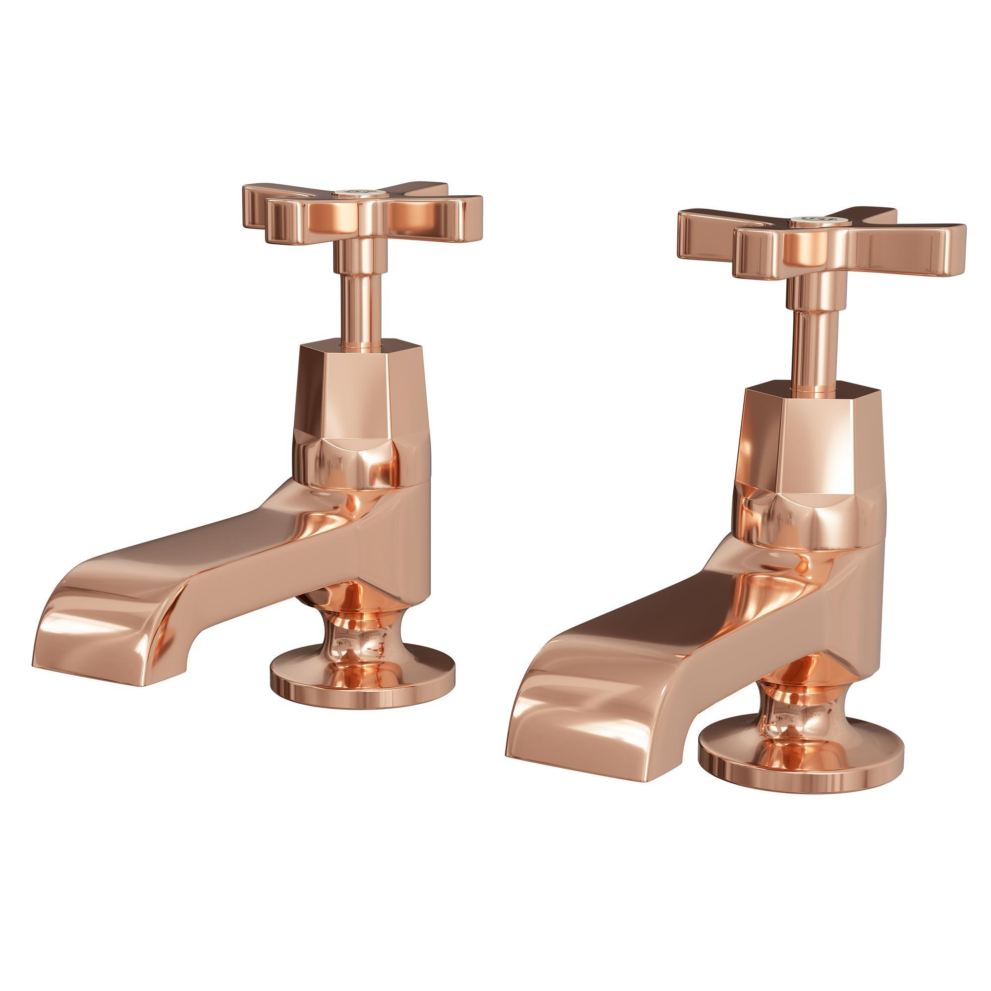 Rose Gold Art Deco Basin Taps with Waste - Heat & Things