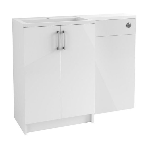 Volta 1100mm Floor Standing Vanity, Basin & WC Pack - Left Hand - White Gloss