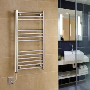 York Flat Chrome Electric Towel Rails