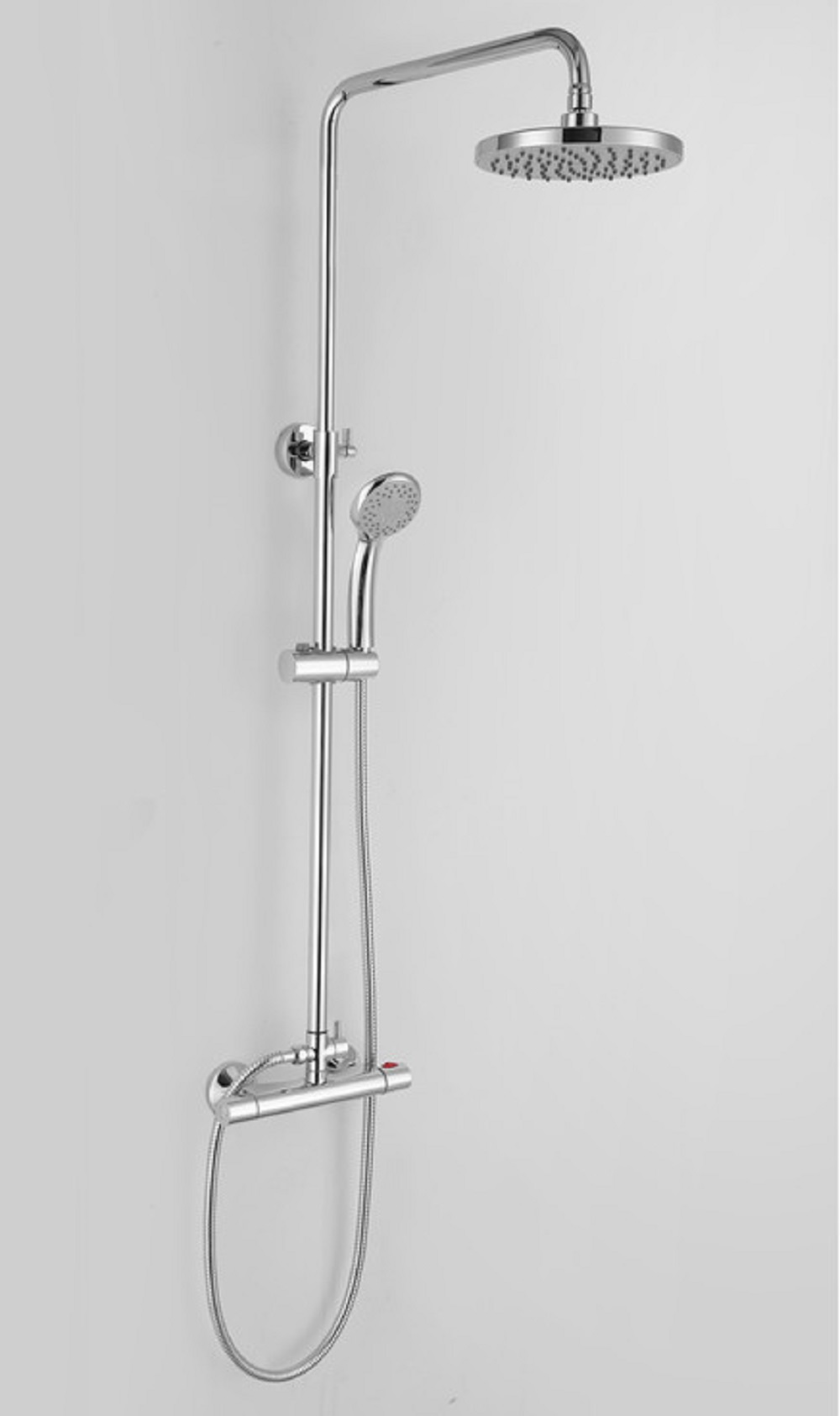 Round Telescopic Thermostatic Mixer Bar Shower With 200mm 8 Inch Overhead Hand Held Shower Heads