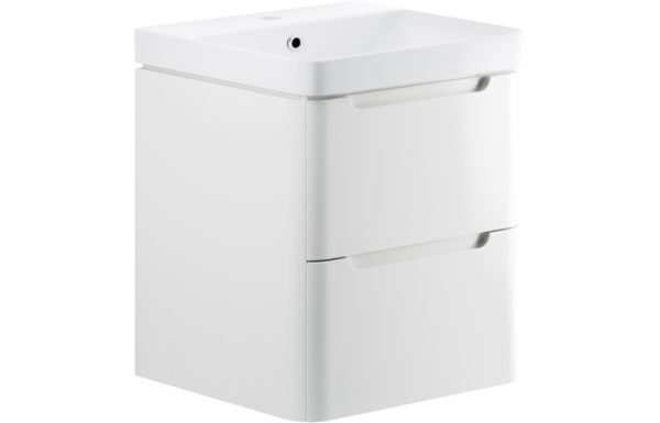 Lambra Gloss White wall Hung 600mm 2 Drawer Vanity Unit with Basin + Waterfall Tap and Waste