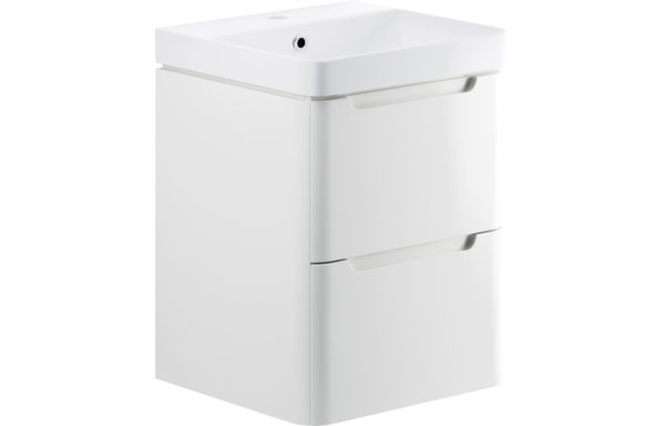Lambra 500mm White Wall Hung 2 Drawer Vanity Unit with Waterfall Tap