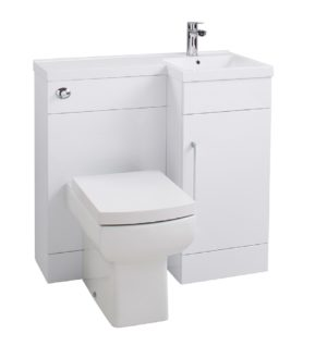 Maze Gloss White Compact L Shaped Furniture With Tap, Pan & Cistern Right Hand 900mm wide