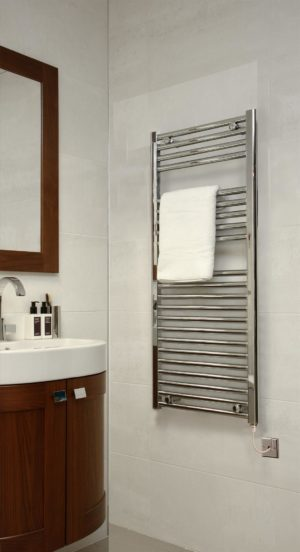 EXTRA HIGH HEAT OUTPUT CHROME CURVED ELECTRIC TOWEL RAIL BATHROOM HEATER ALL SIZES