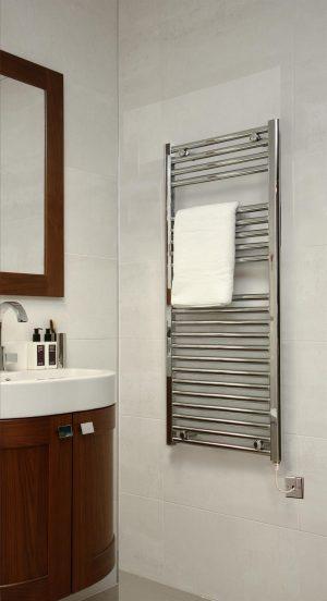 EXTRA HIGH HEAT OUTPUT CHROME CURVED ELECTRIC TOWEL RAIL BATHROOM HEATER ALL SIZES