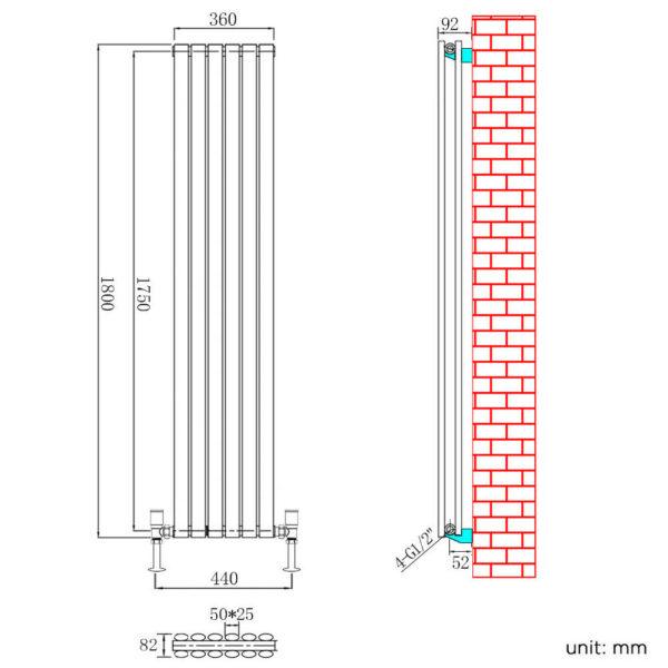 1800 High Vertical Oval Tube White Radiator