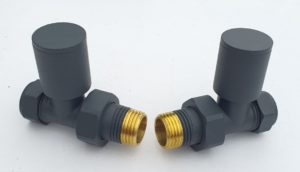 "Anthracite Straight Chrome Towel Rail Valves 1/2"" /15mm Radiator valves"
