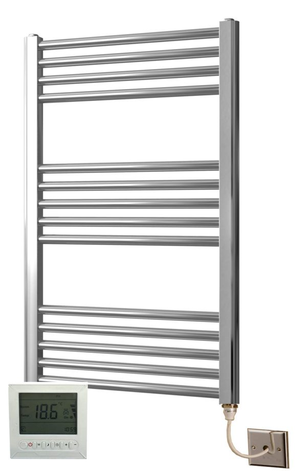 York Chrome Electric Towel Rail Curved 600 x 1800mm with Bidex Controller