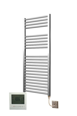 Extra High Heat Output Chrome Electric Towel Rail 600 x 800mm + TIMER / ROOM THERMOSTAT Curved Bathroom Radiator Heater